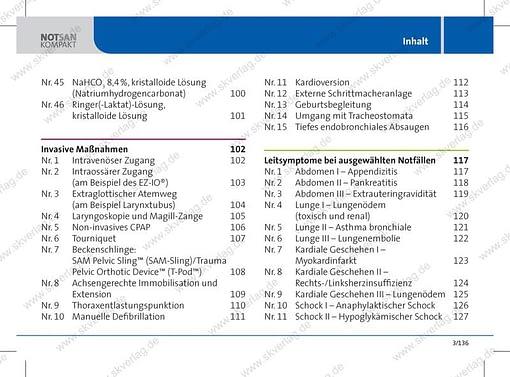 Lernkarten Rettungsdienst: Inhaltsverzeichnis