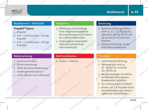 Antwortkarte zum Wirkstoff Propofol