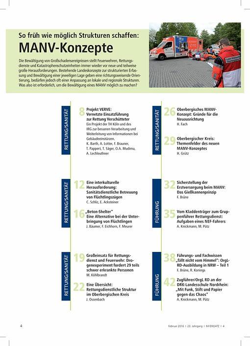 IM EINSATZ 01/2016 - Großschadenslagen effektiv bewältigen