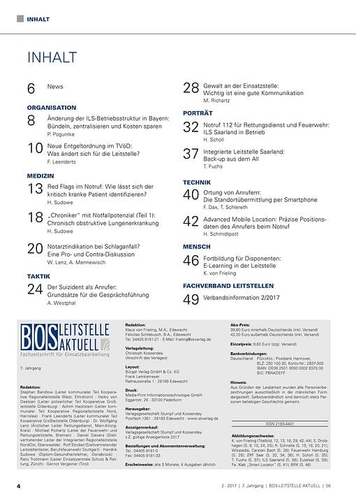 BOS LEITSTELLE AKTUELL 2/2017 - Ersteinschätzung und Entscheidungsfindung