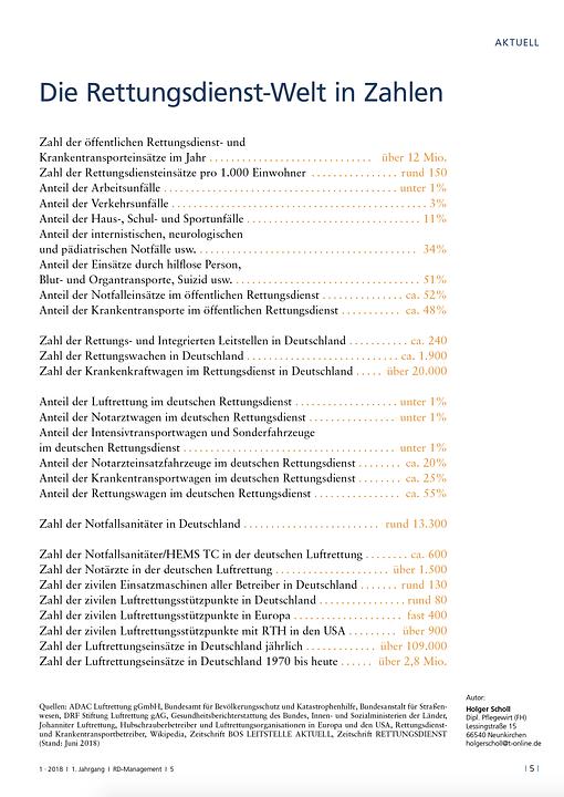 Zahlen und Fakten im Sonderheft RETTUNGSDIENST-Management