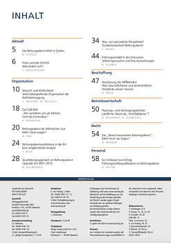 Inhaltsverzeichnis zum Sonderheft RETTUNGSDIENST-Management