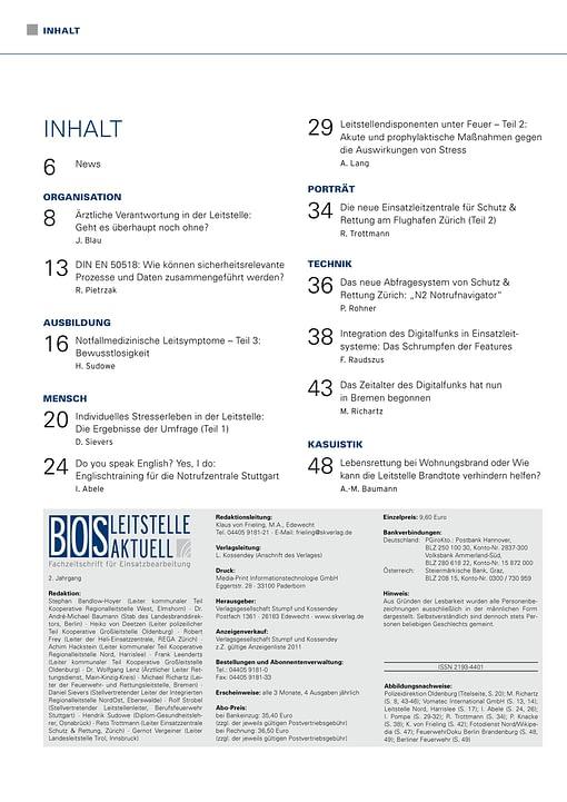 BOS LEITSTELLE AKTUELL 3/2012 - Arzt in der Leitstelle